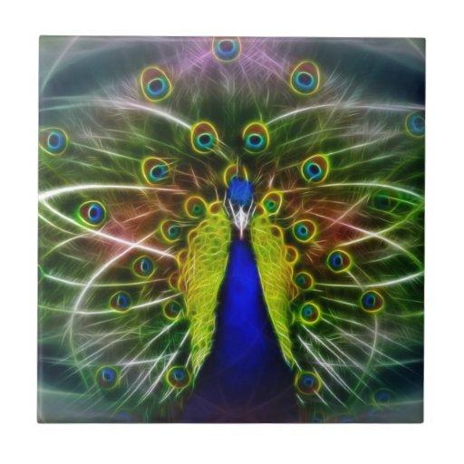 Pavo real Dreamcatcher Azulejo Cuadrado Pequeño