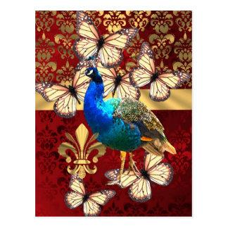 Pavo real elegante del vintage y damasco rojo tarjeta postal
