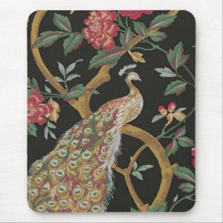 Pavo real elegante en el cojín de ratón negro tapete de ratones