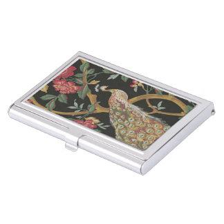 Pavo real elegante en tenedor negro de la tarjeta caja de tarjetas de presentación