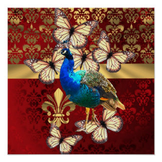 Pavo real elegante, mariposas y damasco rojo posters