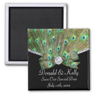 Pavo real elegante y boda de diamantes imanes para frigoríficos