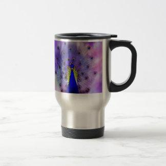 Pavo real en colores pastel taza térmica