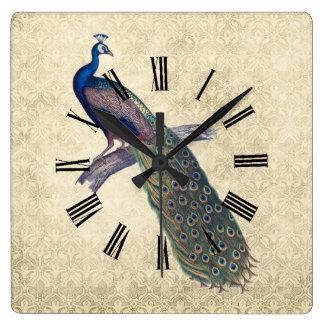 Pavo real en el damasco de marfil elegante reloj cuadrado