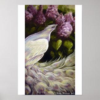 Pavo real en el poster de las lilas