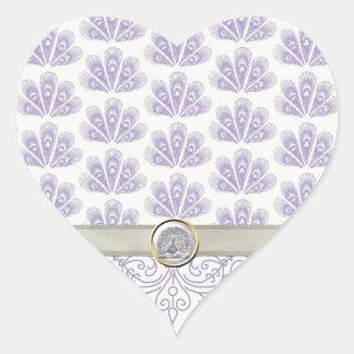 Pavo real en la impresión del damasco y del pavo calcomania corazon