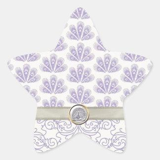 Pavo real en la impresión del damasco y del pavo pegatinas forma de estrellaes personalizadas