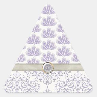 Pavo real en la impresión del damasco y del pavo calcomanías triangulos