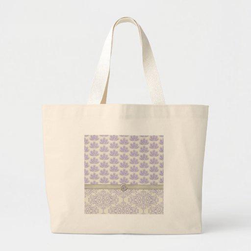 Pavo real en la impresión del damasco y del pavo r bolsas de mano