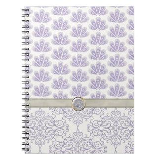 Pavo real en la impresión del damasco y del pavo r cuaderno