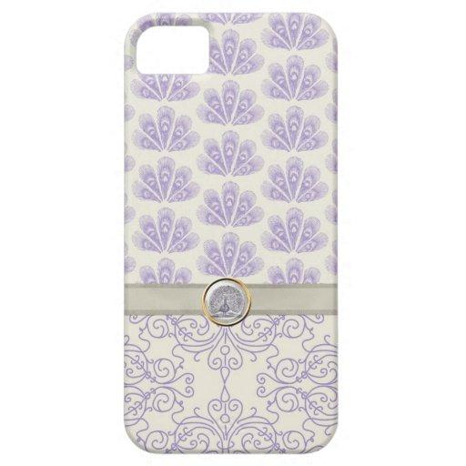 Pavo real en la impresión del damasco y del pavo r iPhone 5 carcasas