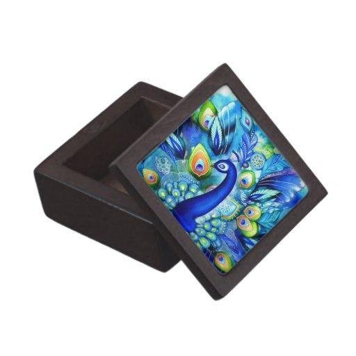 Pavo real en la plena floración caja de recuerdo de calidad