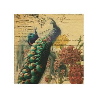 pavo real femenino del vintage de la flor de la cuadro de madera