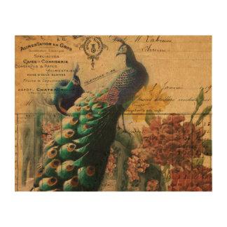 pavo real femenino del vintage de la flor de la impresiones en corcho