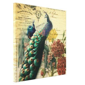 pavo real femenino del vintage de la flor de la impresion en lona