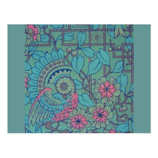 Pavo real floral retro tarjeta postal