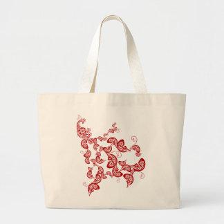 Pavo real floral rojo chino elegante oriental bolsa tela grande
