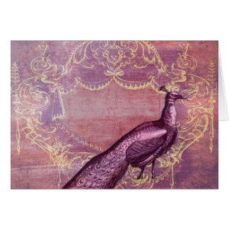 Pavo real francés rococó en púrpura tarjetas