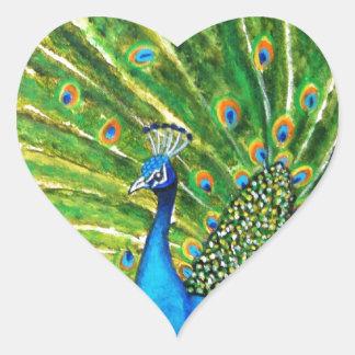 Pavo real glorioso pegatina en forma de corazón