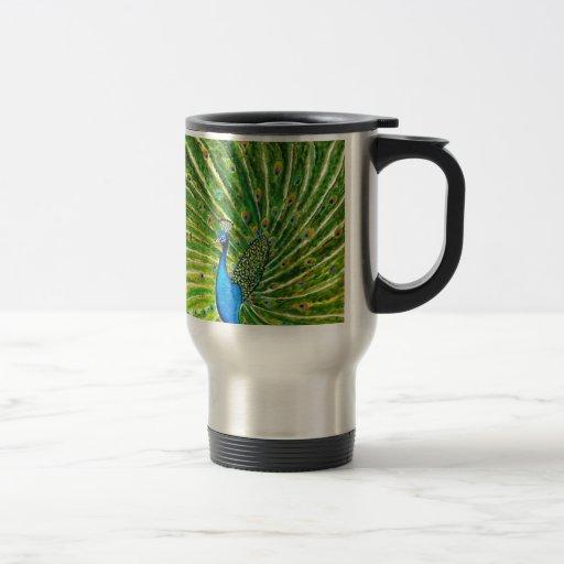 Pavo real glorioso taza de viaje de acero inoxidable