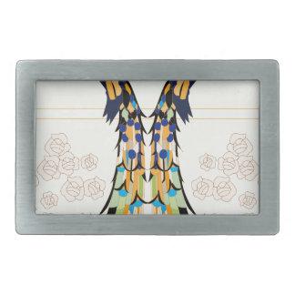 Pavo real hebillas cinturon rectangulares