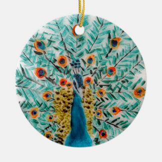 Pavo real hermoso del verde esmeralda y de la adorno navideño redondo de cerámica