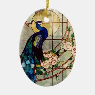 Pavo real hermoso del vitral ornamentos para reyes magos