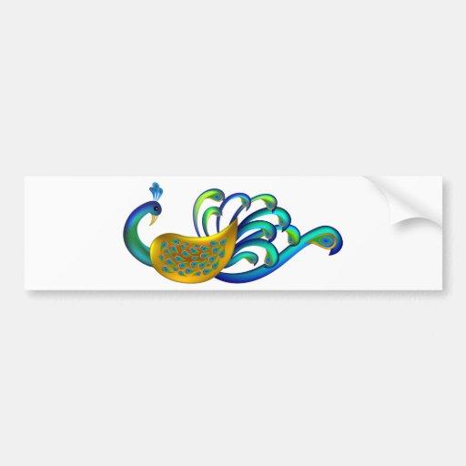 Pavo real indio hermoso, abstracto y colorido pegatina de parachoque