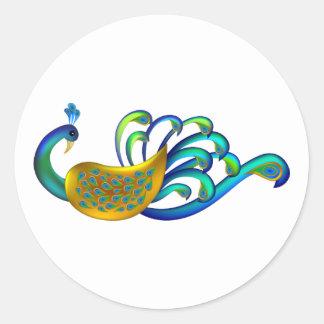 Pavo real indio hermoso abstracto y colorido etiqueta
