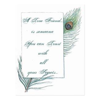 Pavo real inspirado de la cita del amor de la tarjetas postales