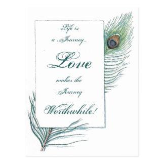 Pavo real inspirado de mérito del amor del viaje tarjetas postales