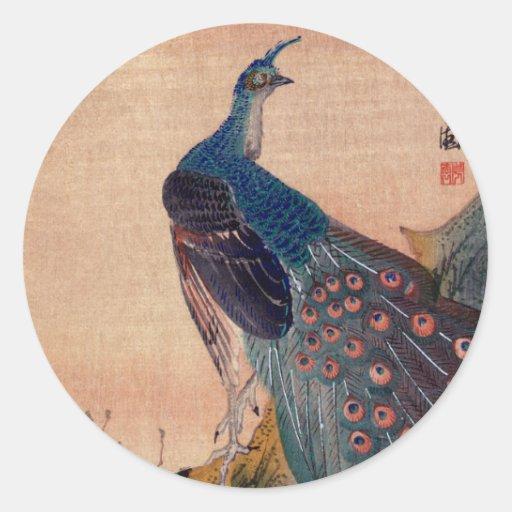 Pavo real japonés no.1 etiqueta redonda