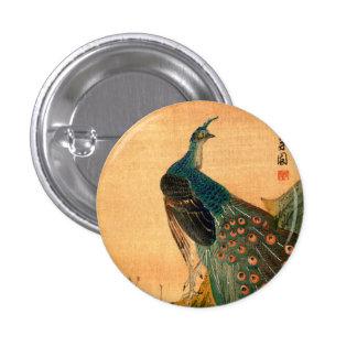 Pavo real japonés no.2 pin redondo de 1 pulgada