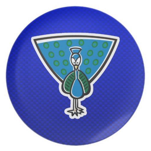 Pavo real lindo; Azul Platos De Comidas