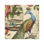 pavo real moderno del francés del vintage impresiones en lona estiradas