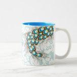Pavo real moderno elegante del damasco personaliza tazas de café