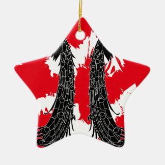 Pavo real negro adorno navideño de cerámica en forma de estrella
