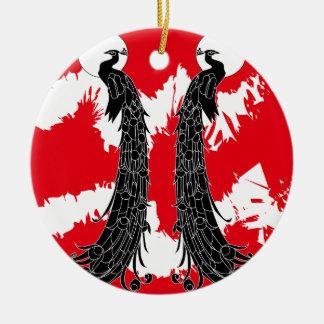 Pavo real negro adorno navideño redondo de cerámica