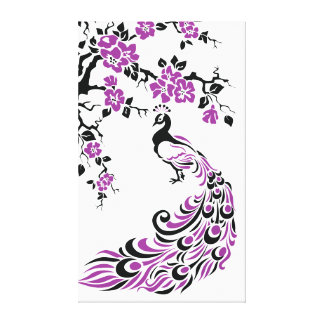 Pavo real negro, púrpura y flores de cerezo de enc impresiones en lona estiradas