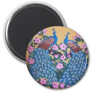 Pavo real - pájaros paradisíacos - pintura de acrí imán redondo 5 cm