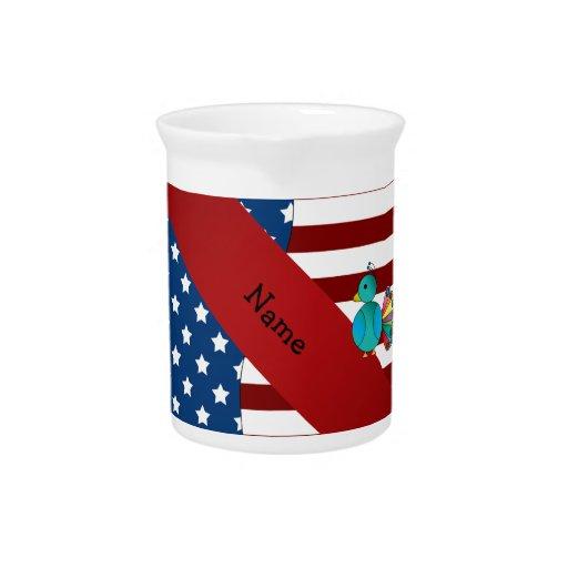 Pavo real patriótico conocido personalizado jarrones