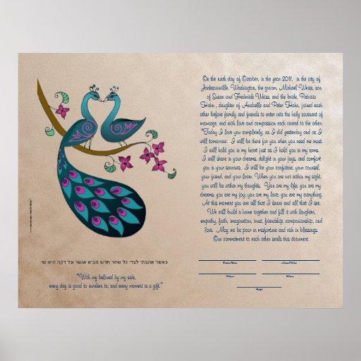 Pavo real-Peahen en el ketubah del amor, de color  Impresiones
