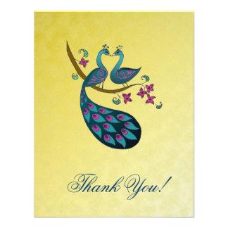 Pavo real - Peahen gracias las tarjetas - amarillo Anuncio Personalizado