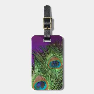 Pavo real púrpura de la hoja etiquetas maleta