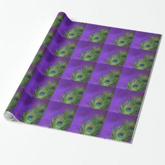 Pavo real púrpura de la hoja papel de regalo