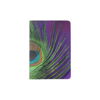 Pavo real púrpura de la hoja porta pasaporte