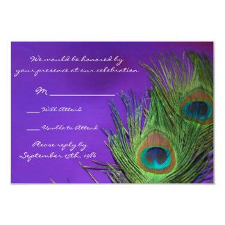 """Pavo real púrpura de la hoja que casa las tarjetas invitación 3.5"""" x 5"""""""