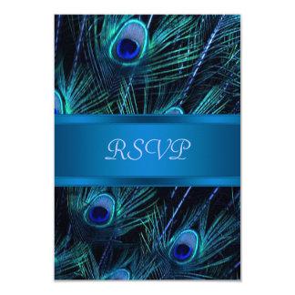 Pavo real púrpura del azul real que casa las invitación 8,9 x 12,7 cm