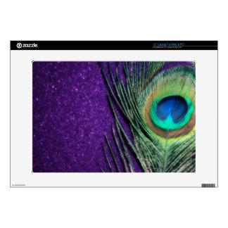 Pavo real púrpura imponente calcomanía para 38,1cm portátil