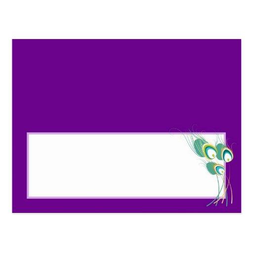 Pavo real púrpura moderno que casa la tarjeta prog postal